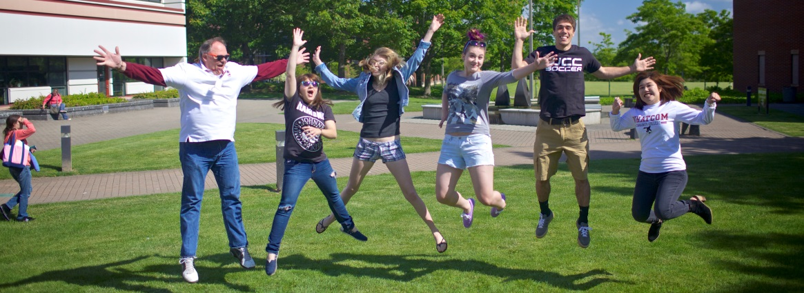 Students jumping
