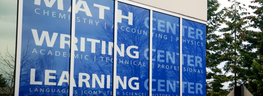 Learning Center window sign