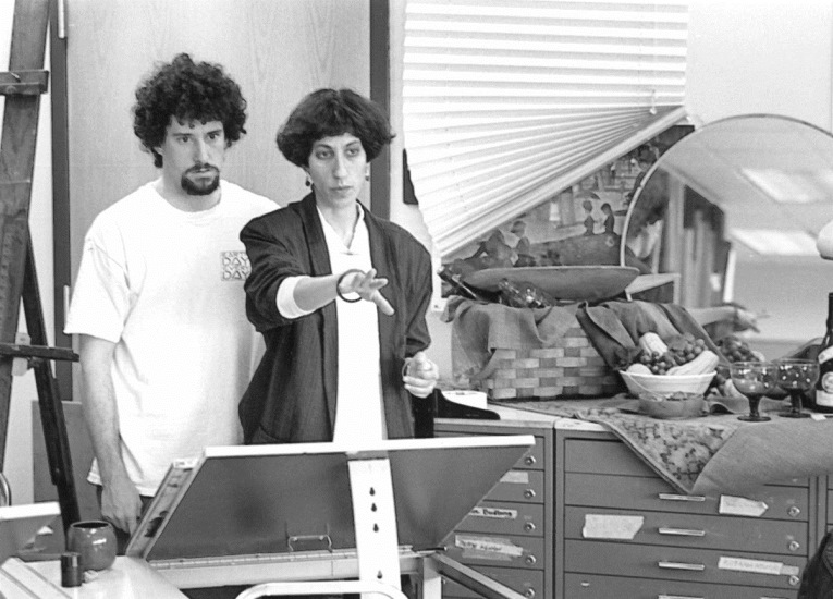 Art instructor Caryn Friedlander with student, 1990s