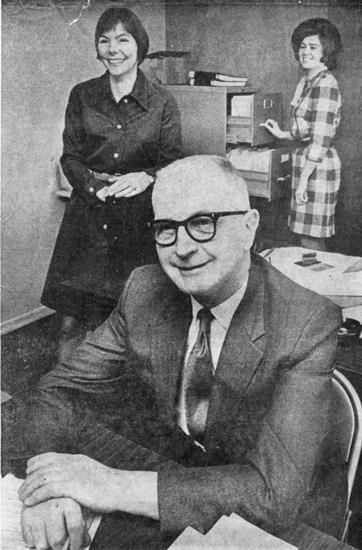 Everett Sanders was first employee. Here with assistant coordinator Lynn Blackwell and secretary Ora Enbom, 1970