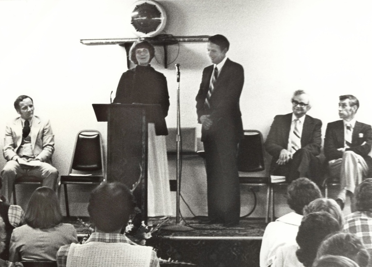 Harold Heiner, Pat Hite, Bill Laidlaw, John Terrey and Sam Kelly at first graduation ceremony (1972-79), June 14, 1979