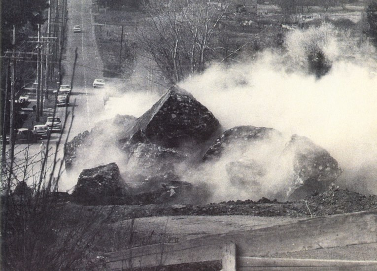 In 1965 'Donovan Rock' was dynamited to make way for I5. The remainder of the rock is still on the side of Donovan Avenue.