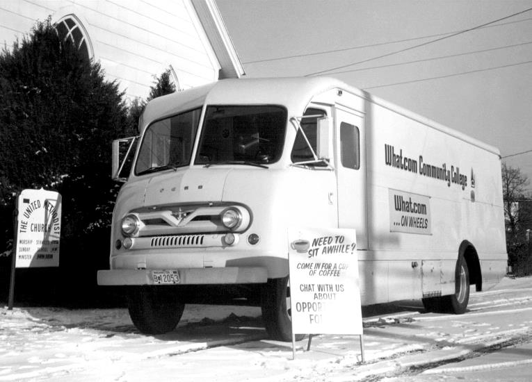 WCC purchased a 1957 Ford bookmobile from King County Library to deliver books, registration, and advising to the county, 1973
