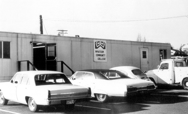 WCC purchased a mobile home for its Learning Resources Center, 1971. It was in a parking lot next to Ferndale High School.