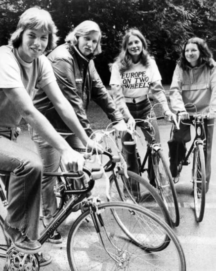 WCC worked with the YMCA to offer a 12-credit 6-week bicycle tour around Europe, 1972. Jack Carver, Whatcom Museum