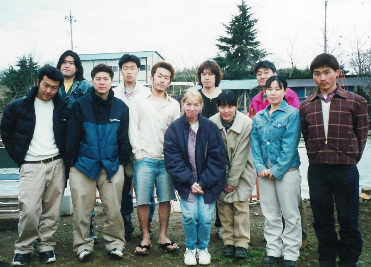Kawaijuku Institute of Japan students with WCC instructor Courtenay Chadwell-Gatz, front center, 1996