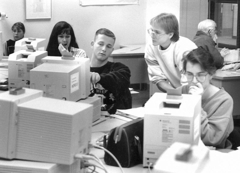 Students in computer lab, 1990s