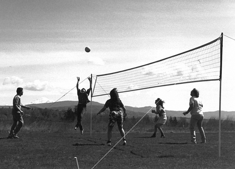 Students playing volleyball in field with Mt. Baker in background