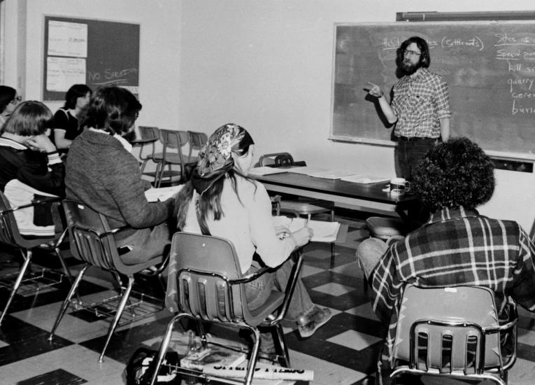 WCC anthropology instructor Allan Richardson, teaching Introduction to Archaeology class on Marine Drive, circa 1979