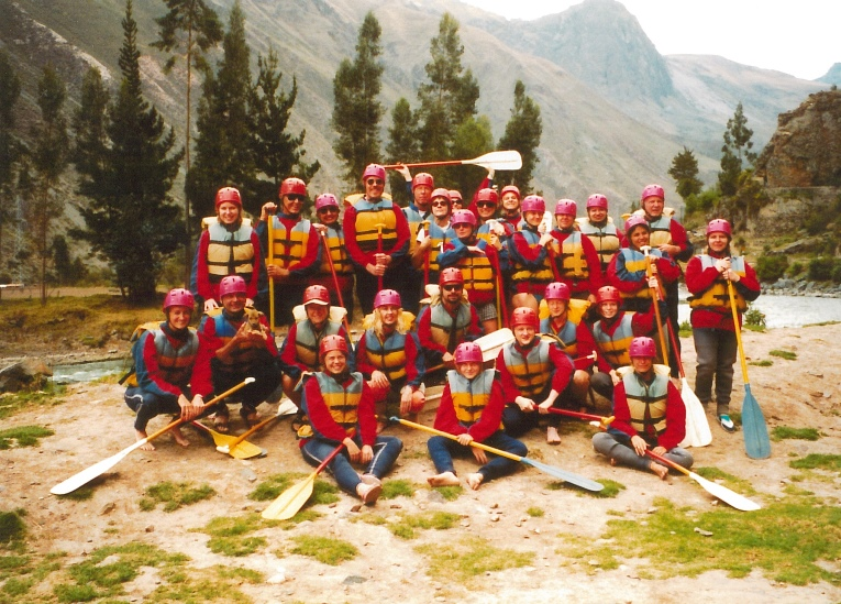 WCC faculty and staff rafting on the Urubamba River in Peru, 2001