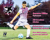 Camron Miller of WCC Soccer Kicking Soccer Ball