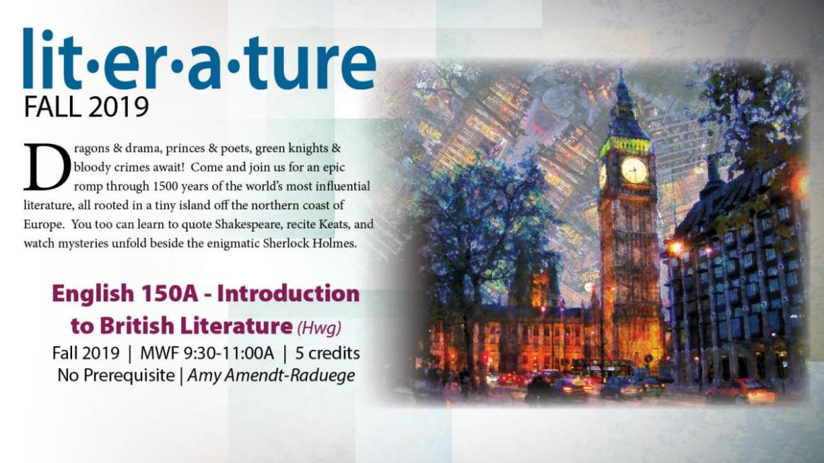 Fall 19 ENGL 150A - Introduction to British Literature