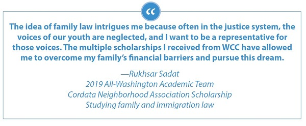 Quote attributed to student Rikhsar Sadat about how WCC scholarships have helped overcome financial barriers and pursue her dream of being an advocate for youth in the justice system