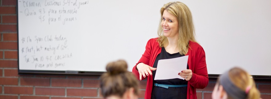 Teacher in class red